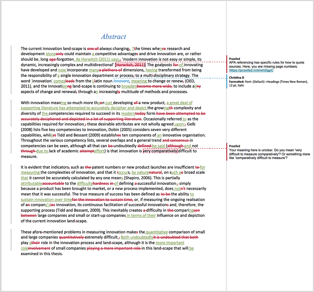 PhD proofreading example after editing
