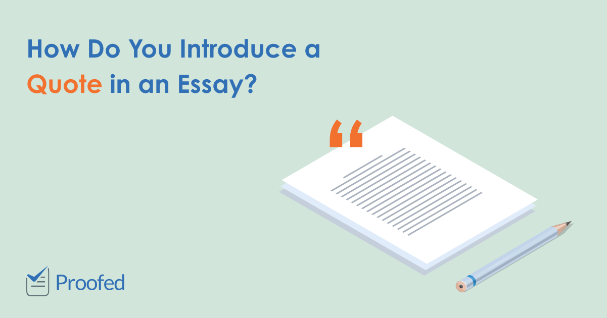 How to introduce a quote in an essay