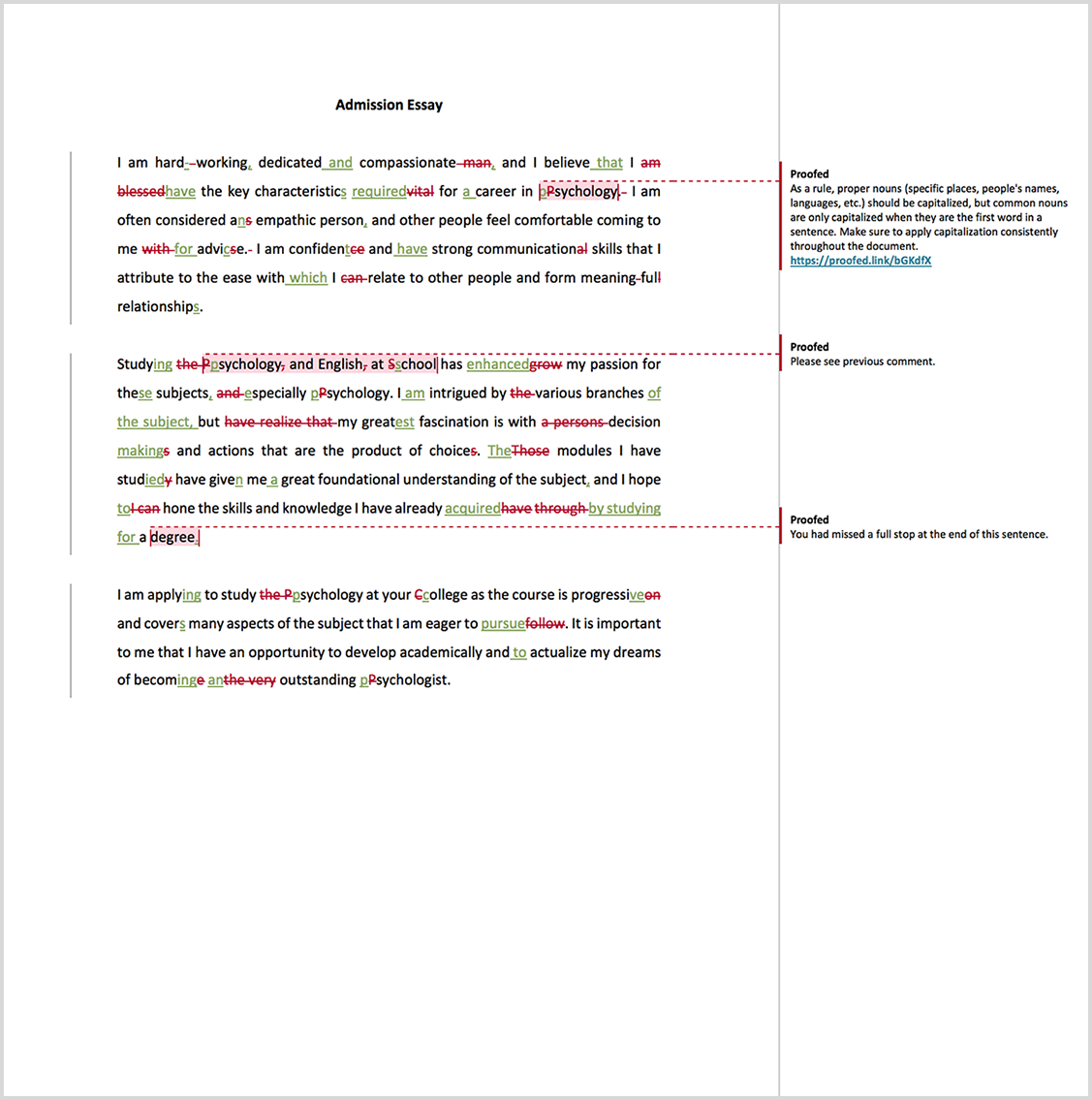 Admission essay proofreading example after editing
