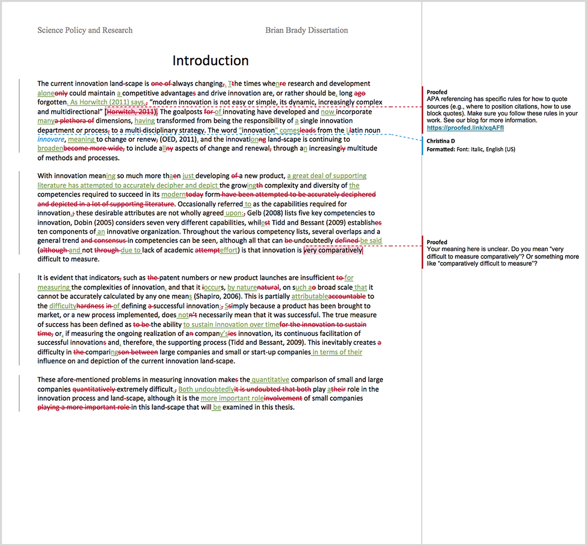 Dissertation proofreading example after editing