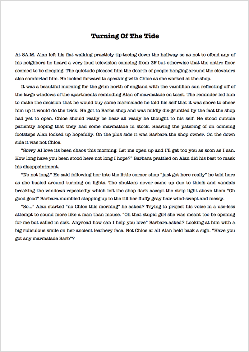 Ebook proofreading example before editing