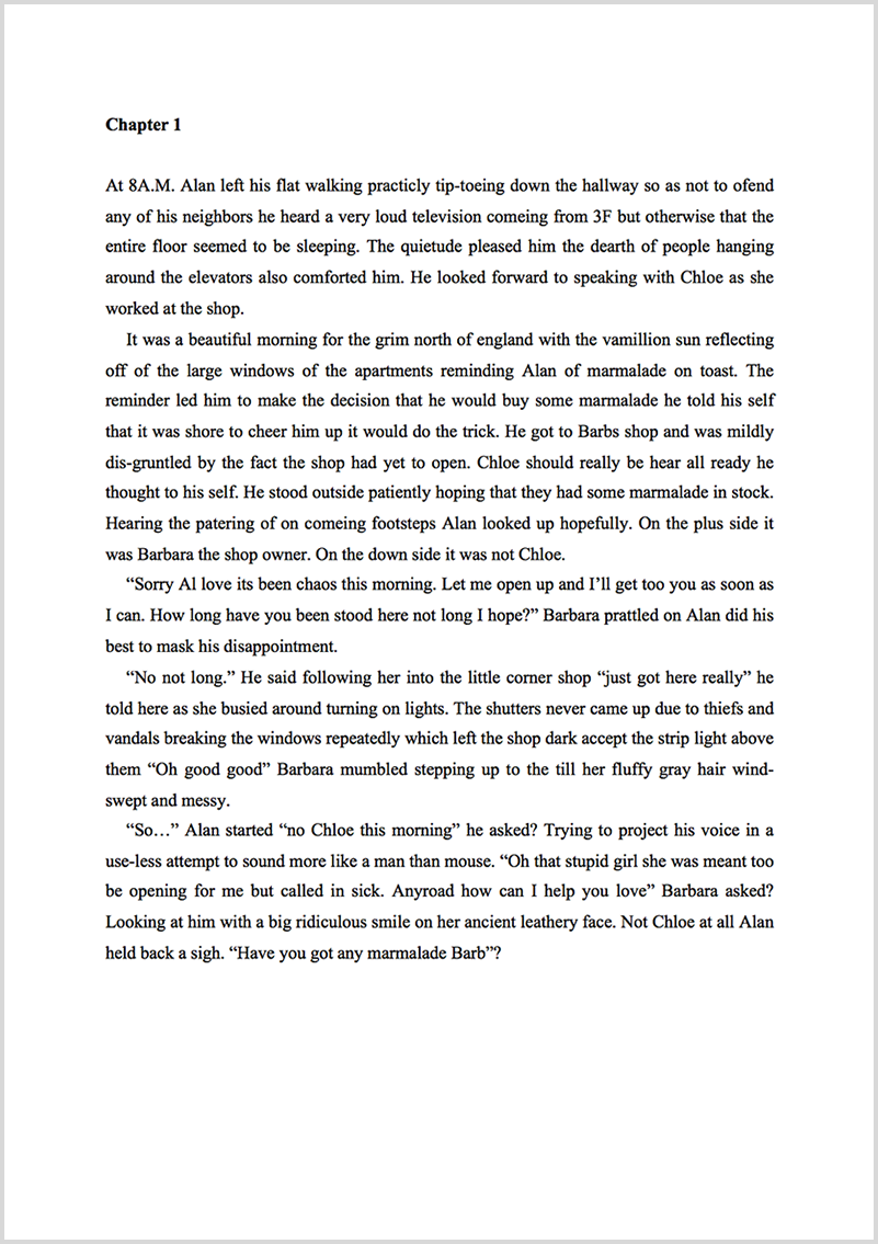 Manuscript proofreading example before editing