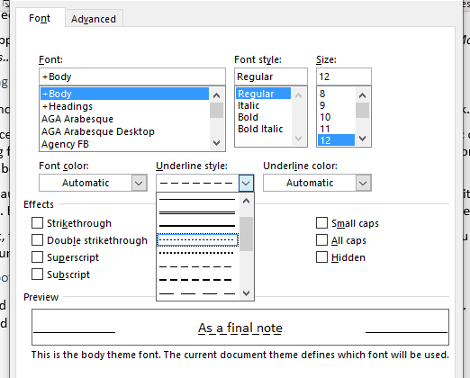 The underlining options in Microsoft Word's font menu.