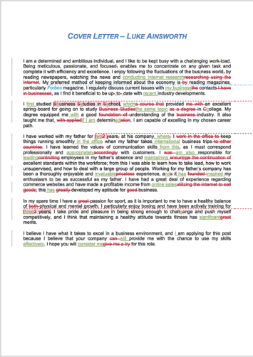 Cover Letter Proofreading Example (After Editing)