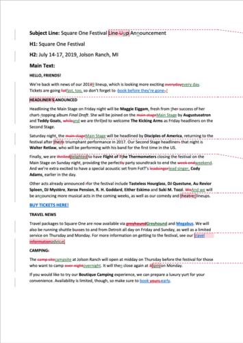 Newsletter Proofreading Example (After Editing)
