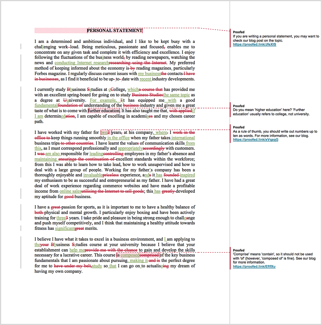 Personal Statement Proofreading Example (After Editing)