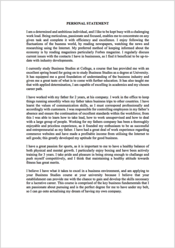 Personal Statement Proofreading Example (Before Editing)