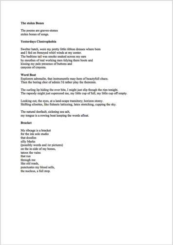 Poetry Proofreading Example (Before Editing)
