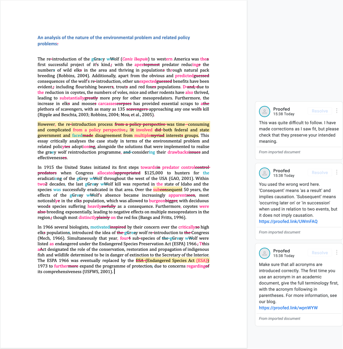 Google Doc Proofreading Example (After Editing)
