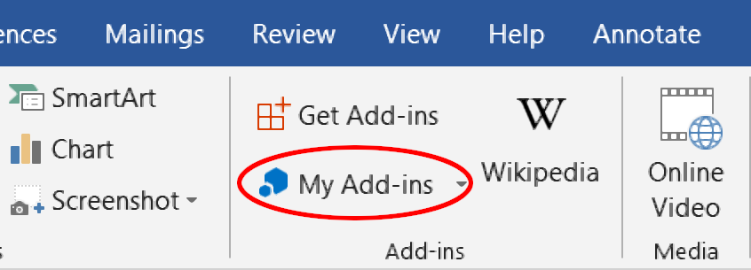 Options for add-ins on the Insert tab.