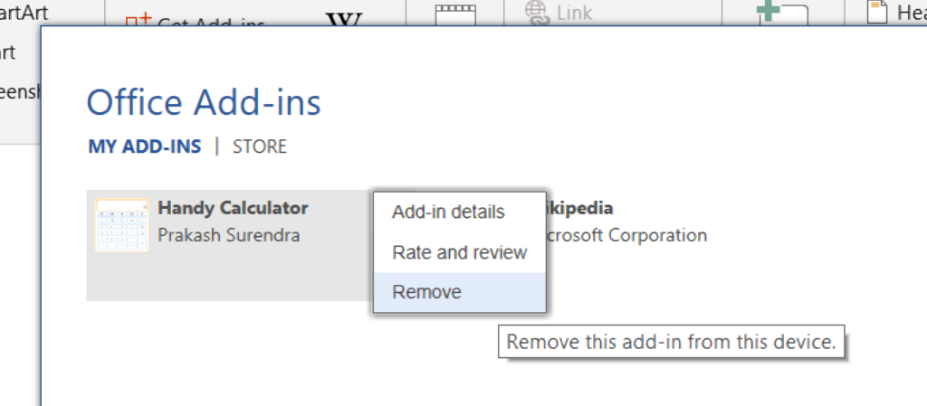 Deleting an add-in from Word.