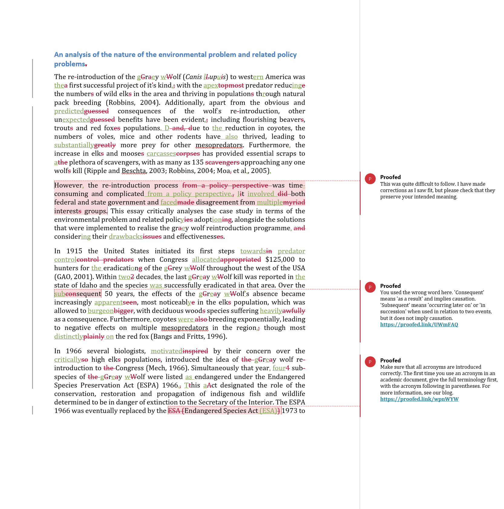 Proofreading Services Example (After Editing)