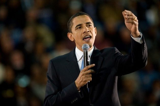 Obama in oratorical action.