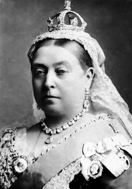 A photo of Queen Victoria from the shoulders up.