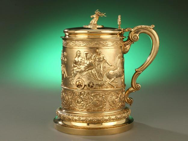 A silver gilt tankard.
